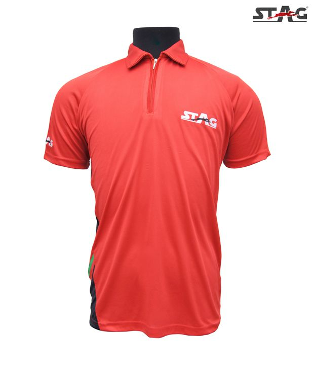 Stag Red Tennis Polo T-Shirt