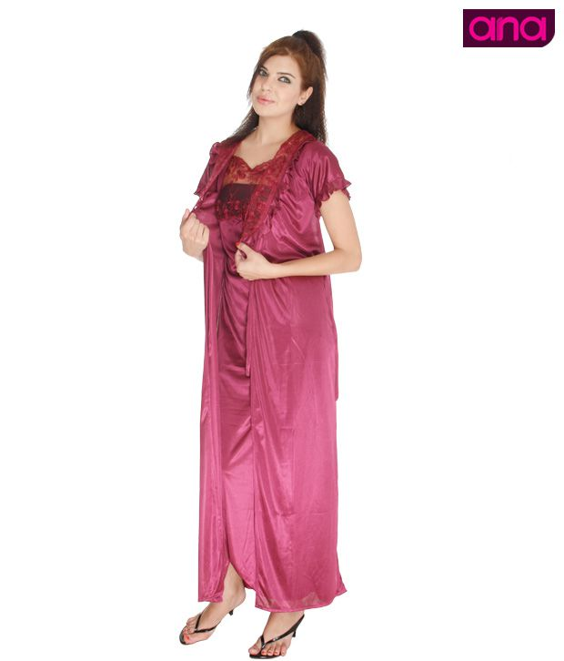 ANA Magenta Satin Night Wear