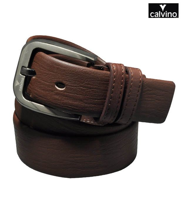 Calvino Classy Brown Textured Formal Belt