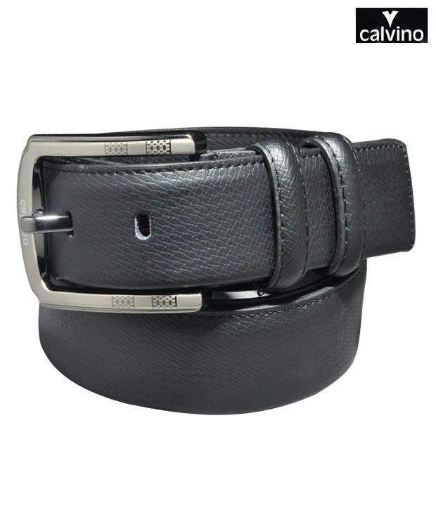 Calvino Black Snake Print Formal Belt