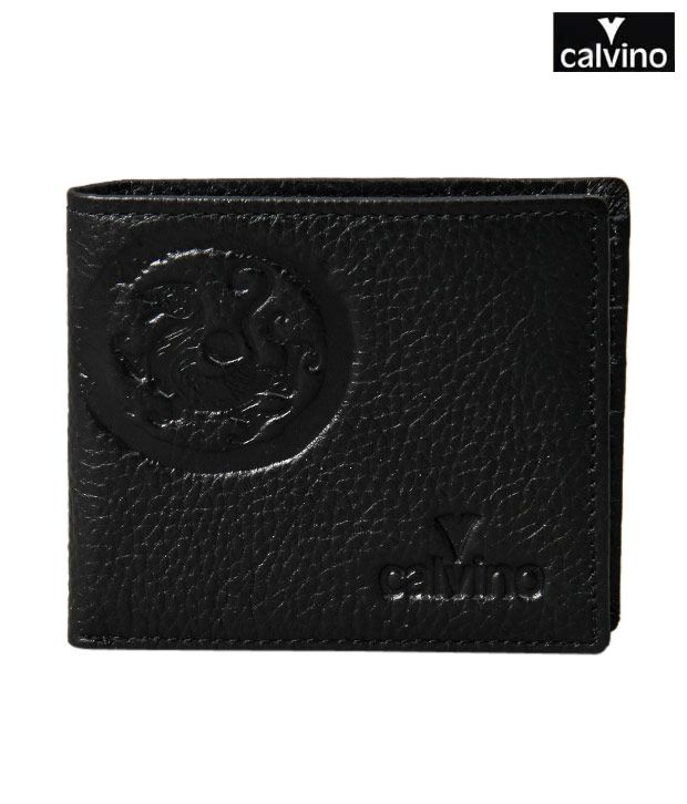 Calvino Black Embossed Center Stitch Wallet