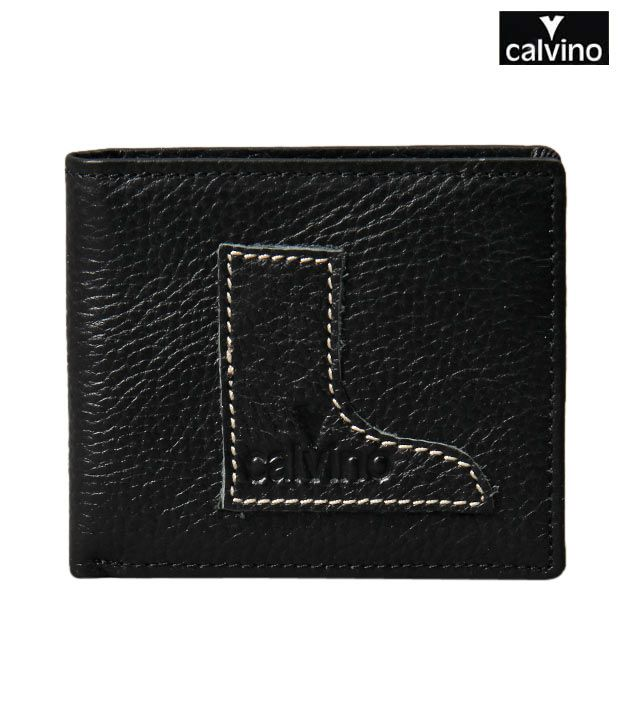 Calvino Black Contrast Stitch Boot Wallet