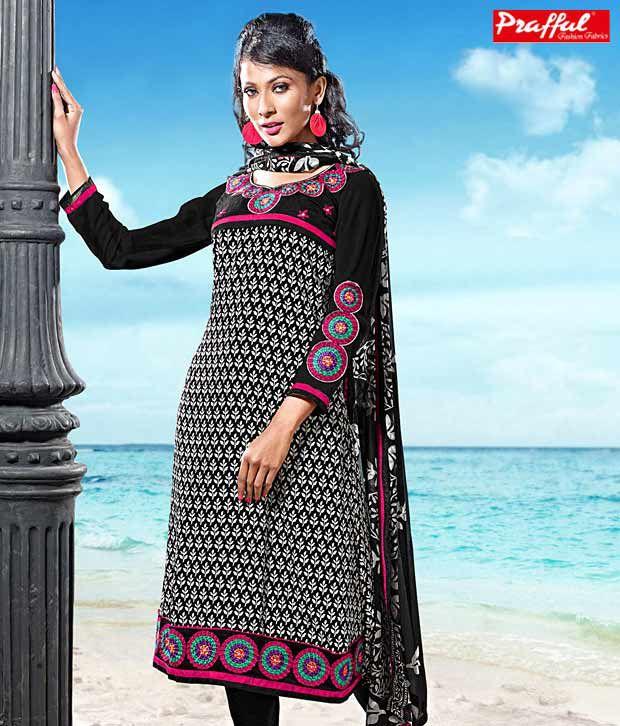 Prafful Black Cotton Suit with Chiffon Dupatta