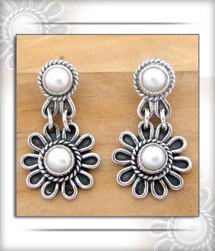 Designer Silver Inc. Floral Pearl Earrings