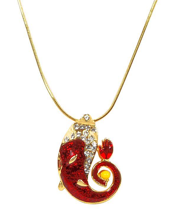 Adhira Vibrant Red Crystal Ganesha Chain Pendant