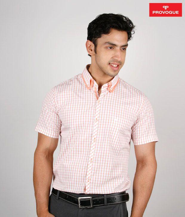 Provogue Peach Checkered Shirt