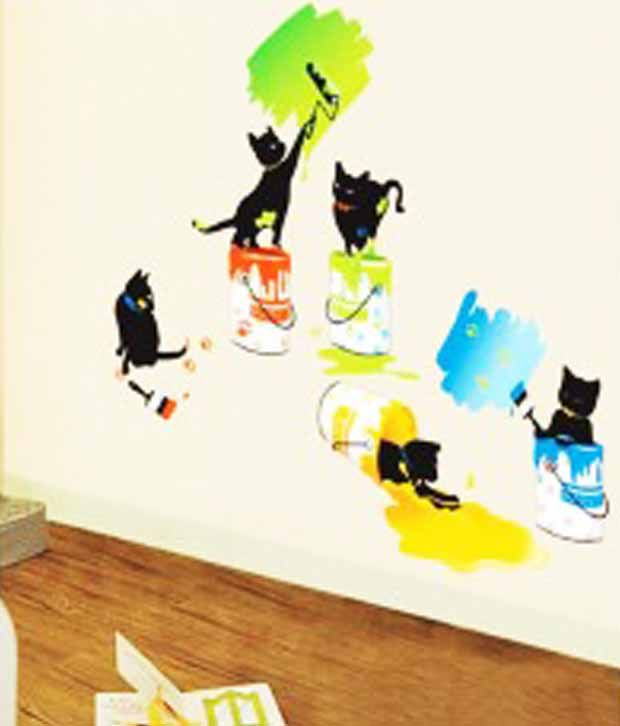 Gloob Cats Painting Wall Sticker