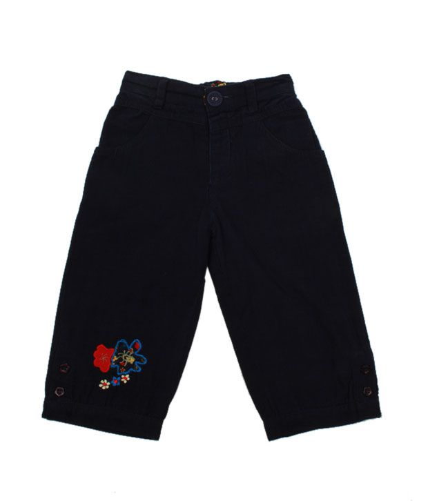 Nauti Nati Navy Blue Embroidered Cord Pant For Kids