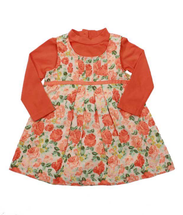 Nauti Nati Vibrant Orange Floral Print Dress For Kids