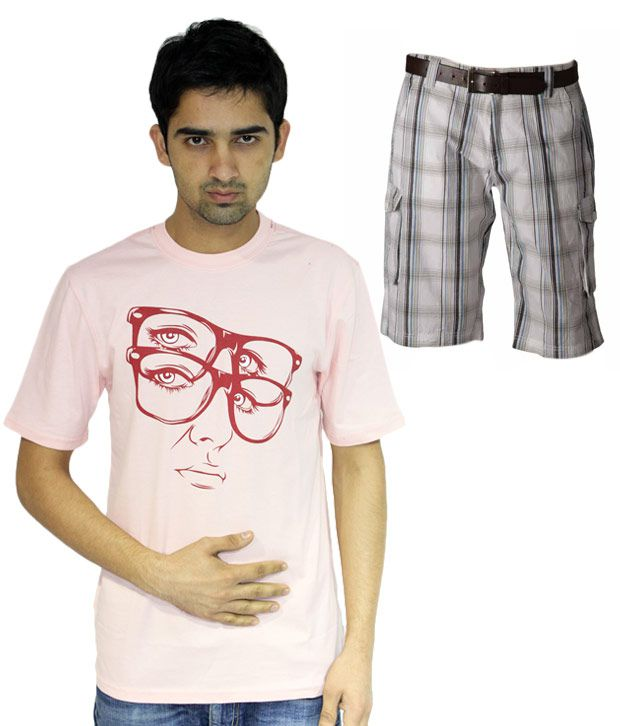 Fundoo T Pink  T Shirt with a free Shorts