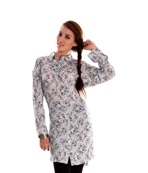 AND White-Blue Floral Printed Tunic Top