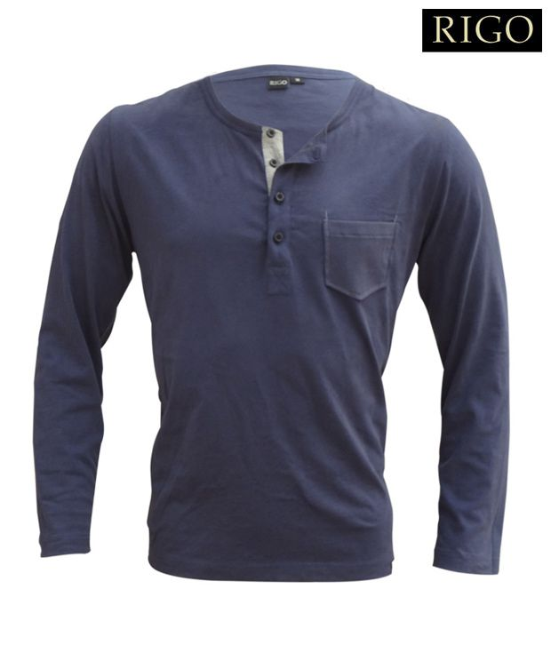 Rigo Navy Blue Henley Neck T-Shirt