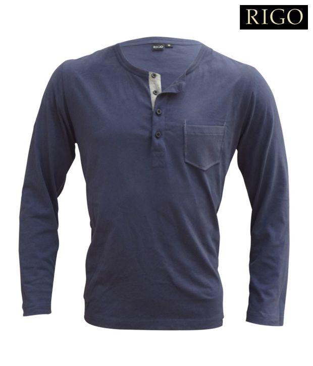 Rigo Navy Blue Henley Neck T-Shirt