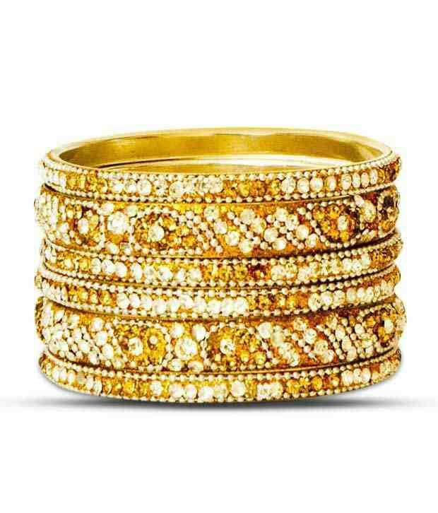 Aadya Exquisite Set Of Golden Lac Bangles