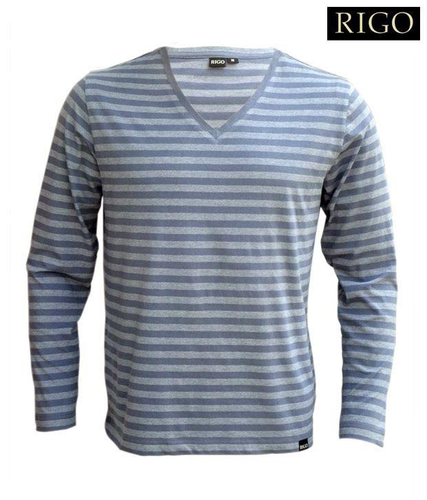 Rigo Steel Blue V-Neck T-Shirt