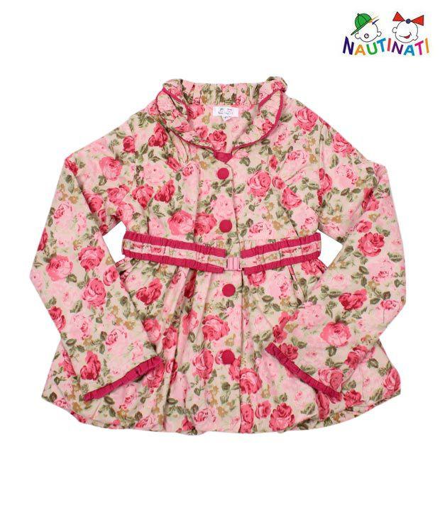 Nauti Nati Floral Print Jacket With Belt For Kids