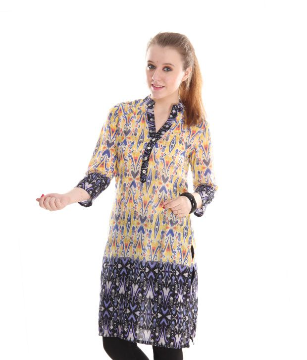 Global Desi Yellow-Purple Printed Kurti