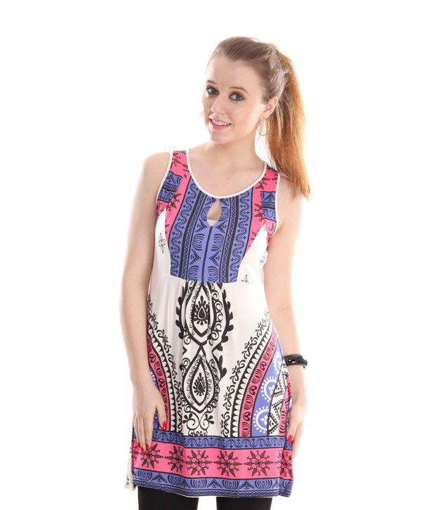 Global Desi Pink-Blue Printed Knitted Tunic
