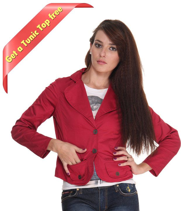 Frolic Charming Red Jacket With Freebie Top