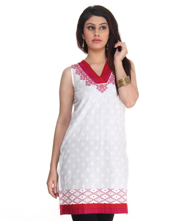 Mother Earth Soothing White-Red Kurti
