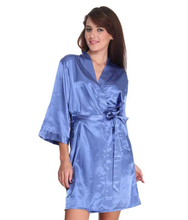 complimentary shipping best selection of 2019 new arrival Bwitch Vibrant Royal Blue Satin Robe
