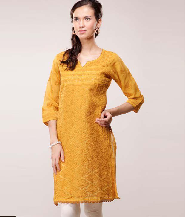 Myra Orange Cotton Kurti