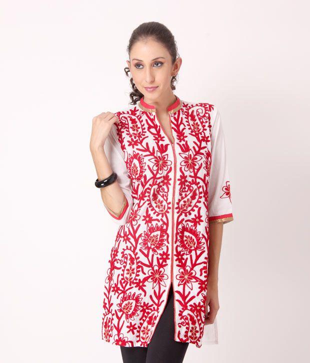 Shree Embroidered White-Red Cotton Kurti