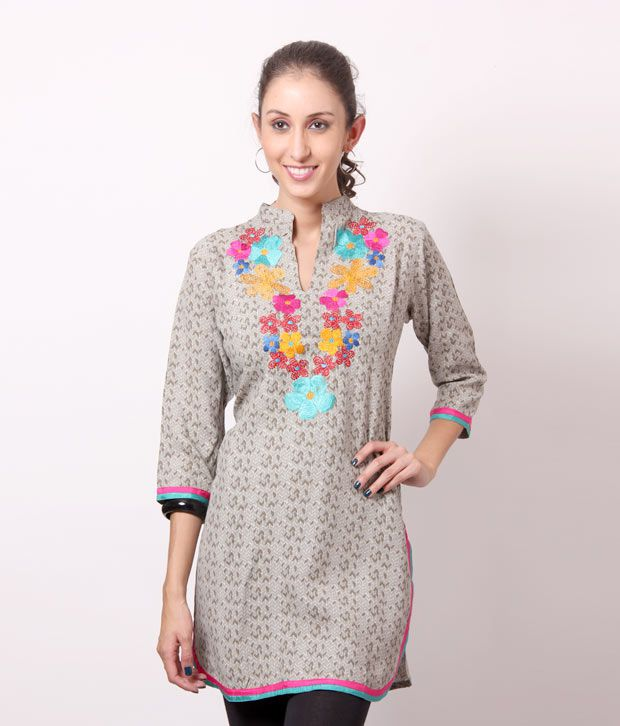Shree Fawn-Grey Cotton Kurti