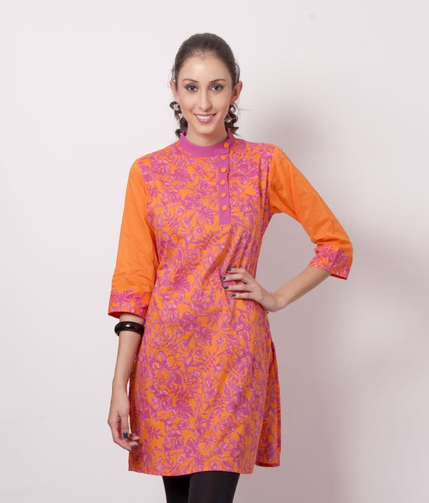 Shree Awesome Orange Cotton Kurti
