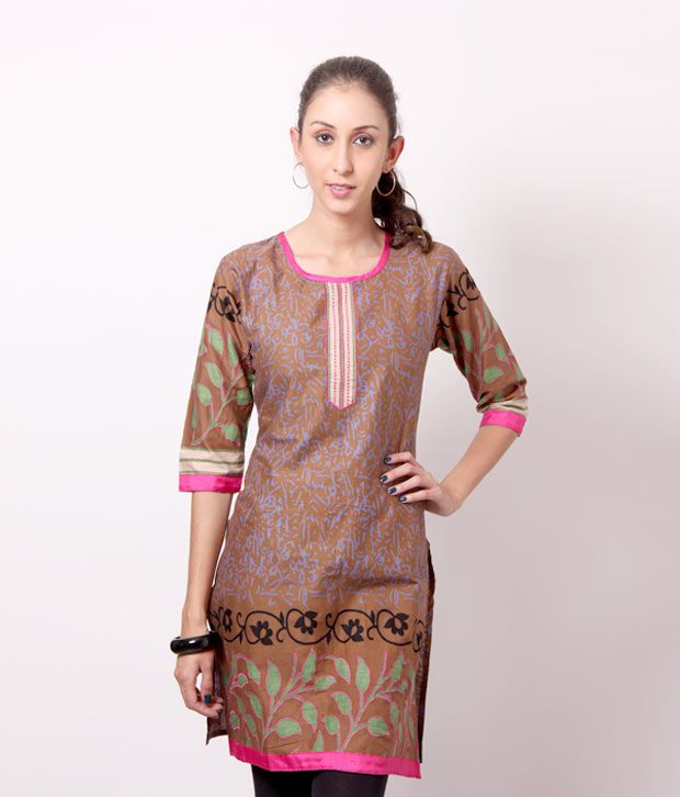 Shree Cajoling Brown-Blue Cotton Kurti