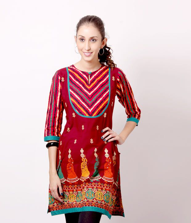 Shree Chic Maroon-Green Cotton Kurti