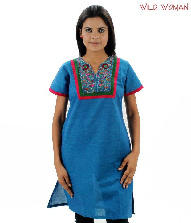 Wild Woman Royal Blue Cotton Kurti