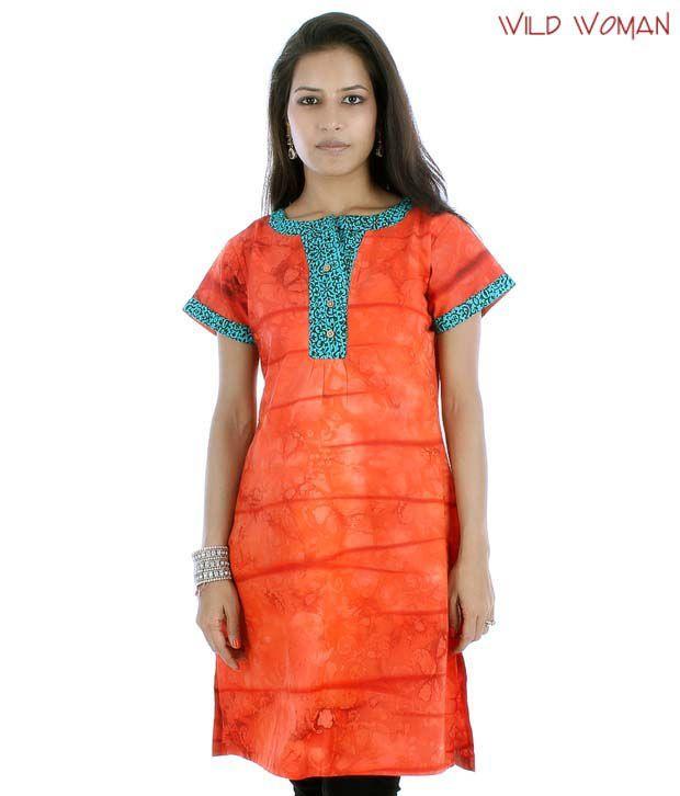 Wild Woman Rich Orange Cotton Kurti
