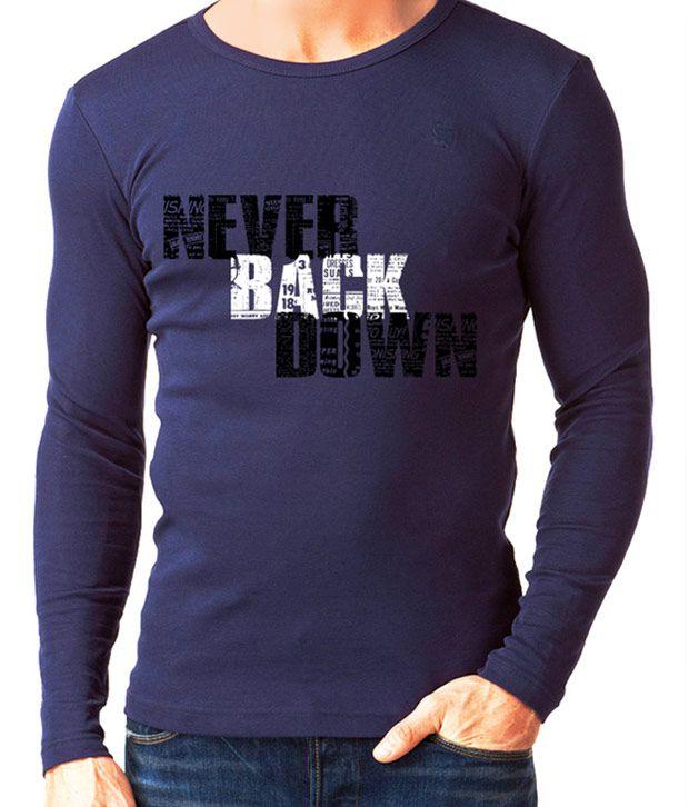 Rigo Blue Never Back Down Full Sleeves T-Shirt