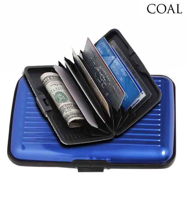 Coal Gleaming Blue Hard Case Card Wallet