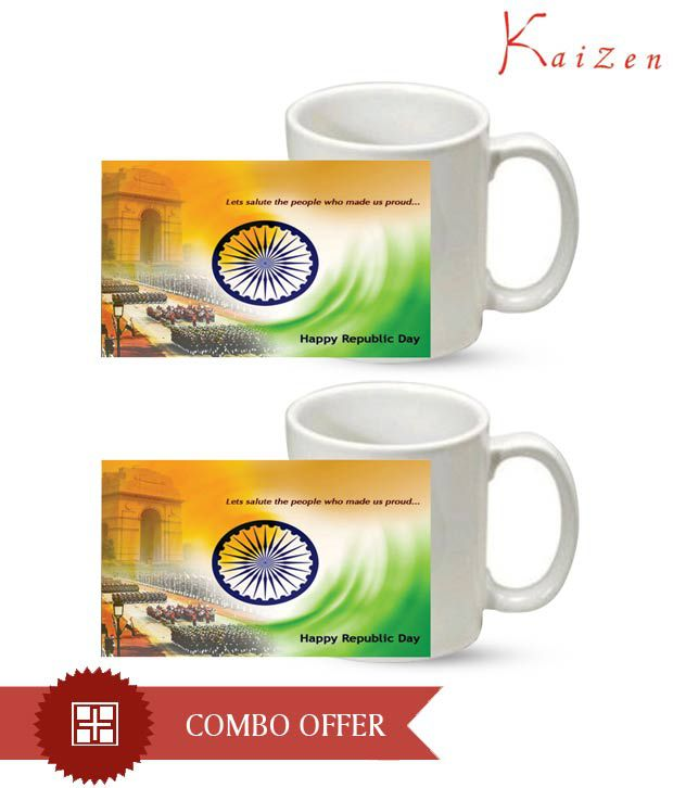 Kaizen White Happy Republic Day Coffee Mug Set Two Buy