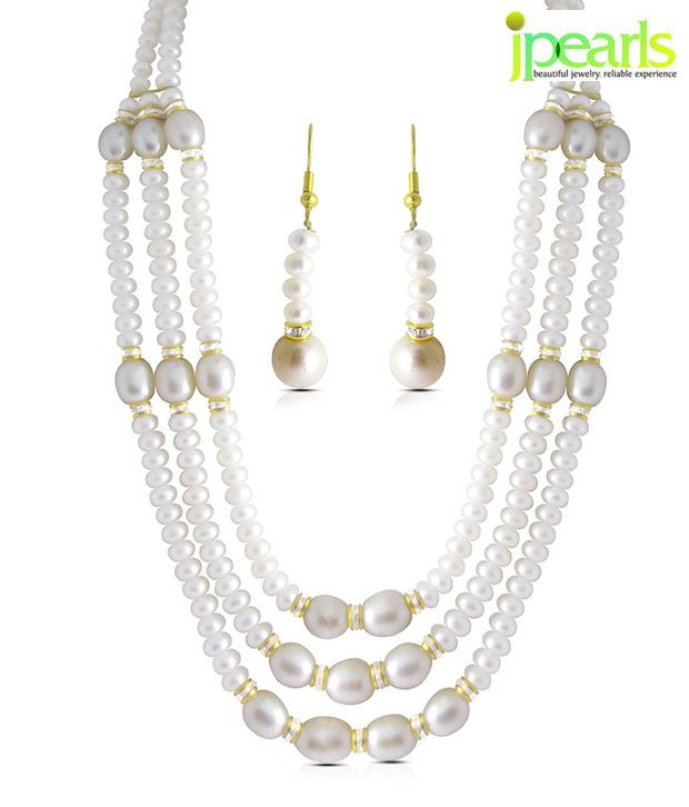 Sri Jagdamba Pearls Pearl Adorned Gorgeous Necklace Set