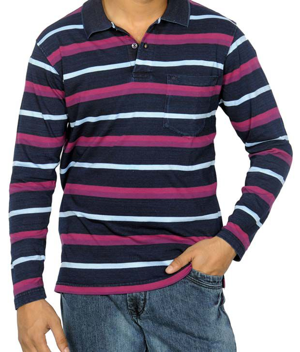 Monte Carlo Blue & Purple Stripes T-Shirt
