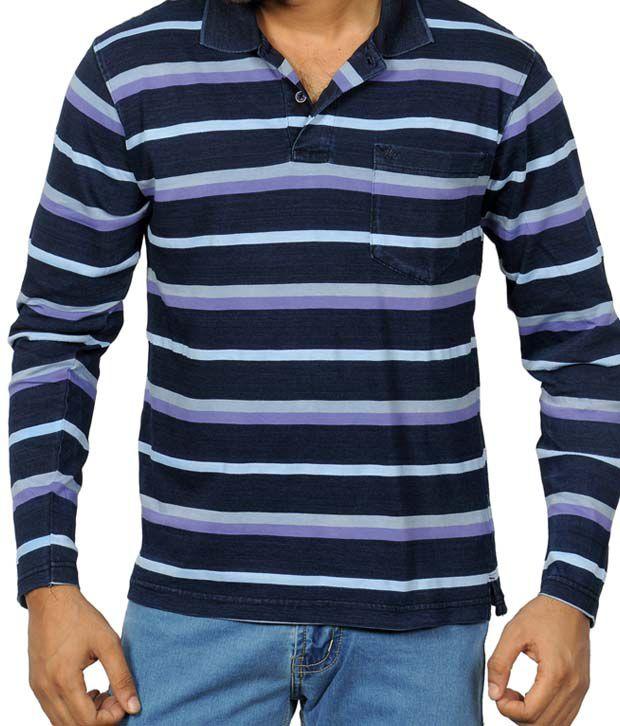 Monte Carlo Blue & Violet Stripes T-Shirt