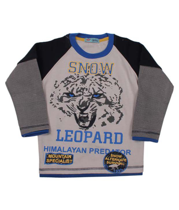Unikid Grey & Black Snow Leopard Sweatshirt For Kids