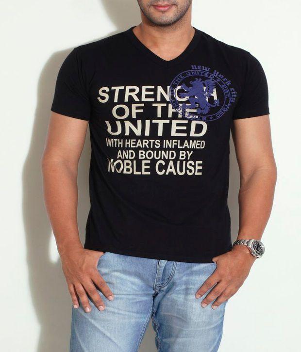 Globus Black Calligraphic Printed T-Shirt