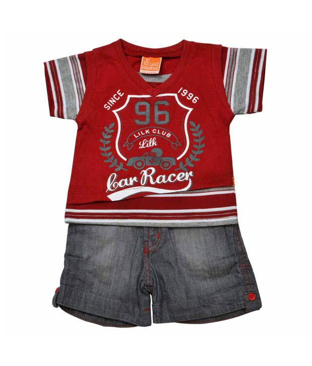 Little Kangaroos Red Racer T-Shirt With Grey Shorts