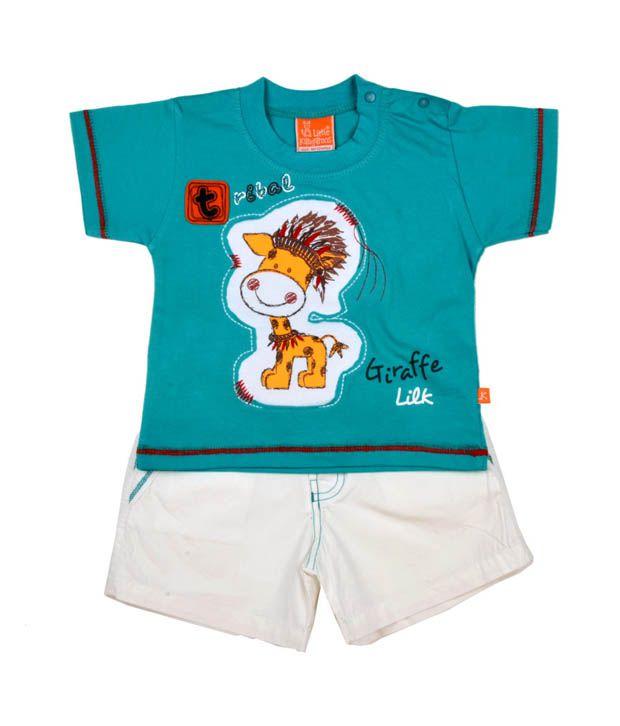 Little Kangaroos Aqua Blue T-Shirt & White Shorts For Kids
