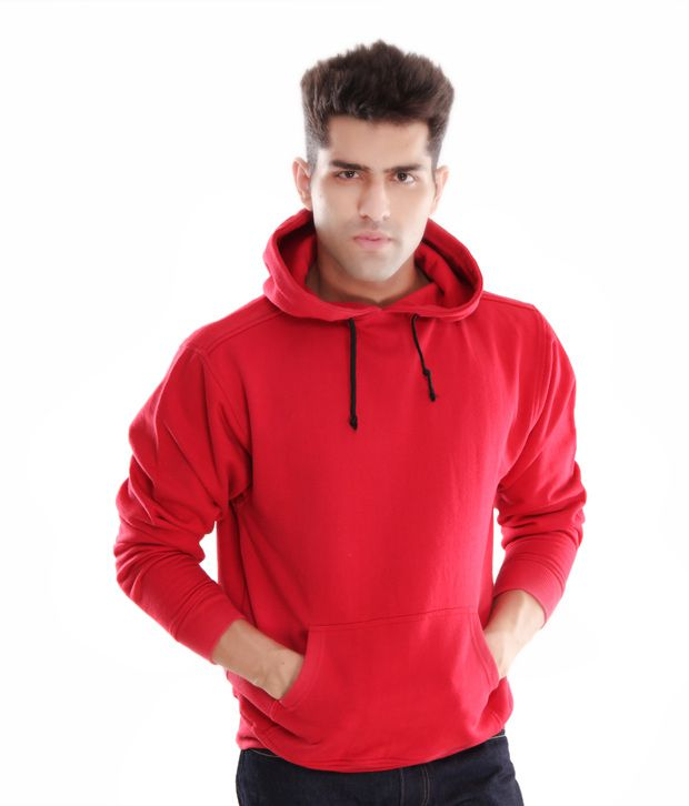 Casual Tees Red Hooded Men Sweatshirt