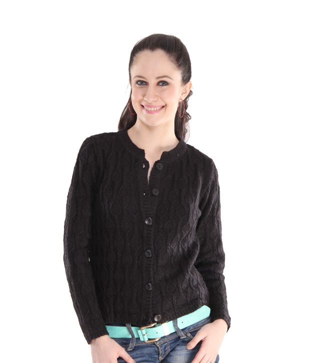 Fort Collins Lovable Black Woollen Cardigan