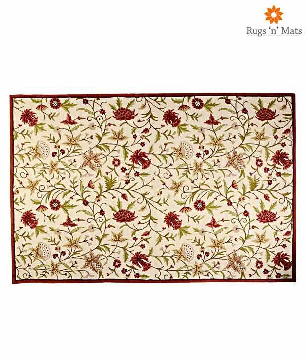Rugs N Mats Beige Kashmir Ki Kali Embroidered Kashmiri Carpet
