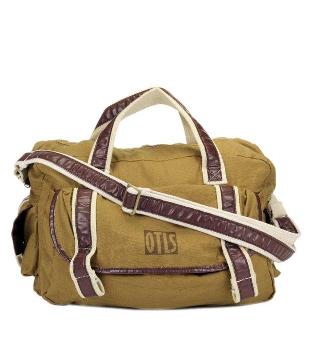 OTLS Khaki & Brown Front Pocket Duffle Bag