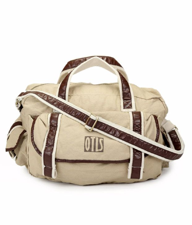 OTLS Beige & Brown Front Pocket Duffle Bag