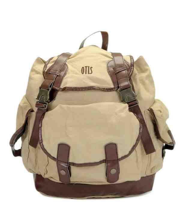 OTLS Beige & Brown Front Pocket Backpack