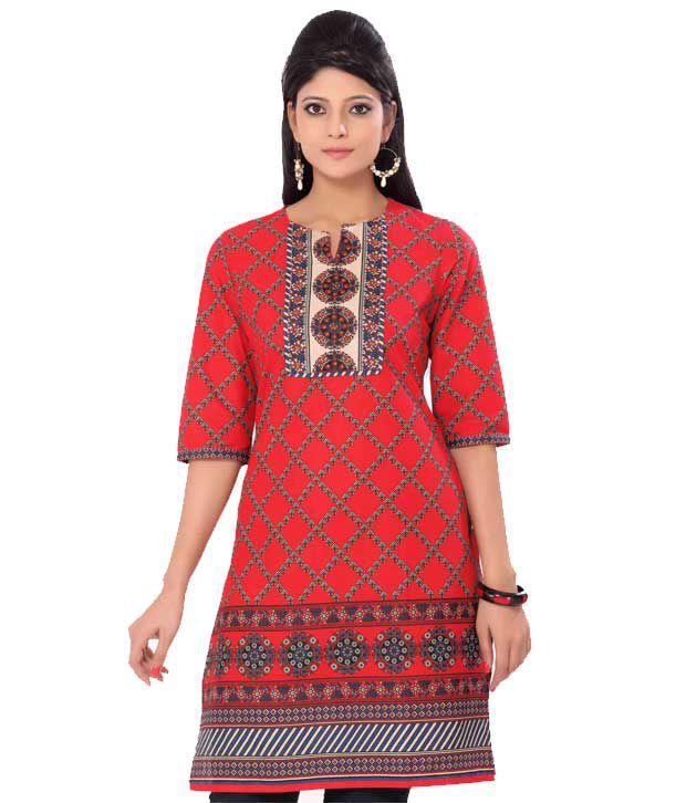 Vishudh Red Cotton Kurti